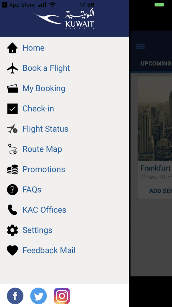 Kuwait Airways App Navigation