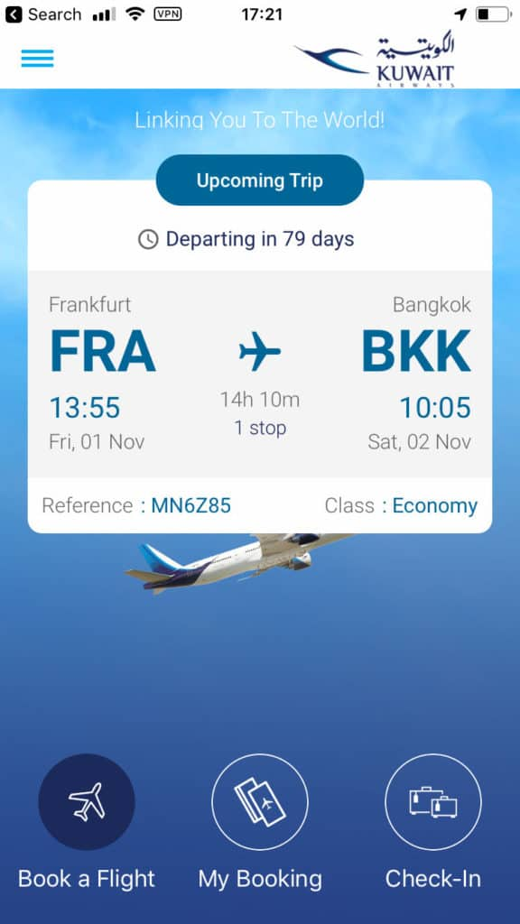 Kuwait Airways App Home Screen