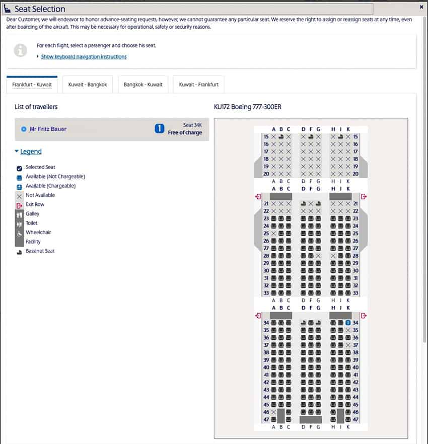 Kuwait Airways Seat Selection