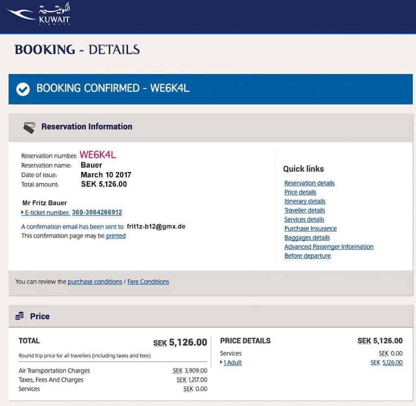 Kuwait Airine Booking Details