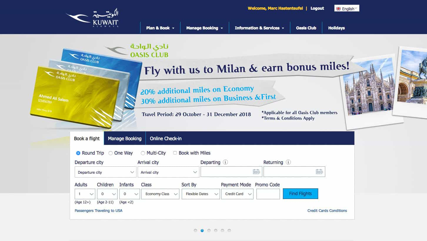 Kuwait Airline Web Page