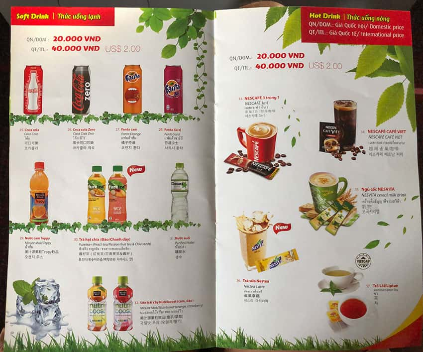 VietJet Air Beverage Selection