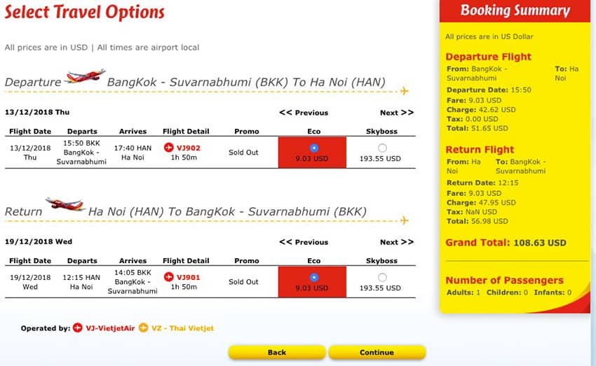 Flight Selection VietJet Air