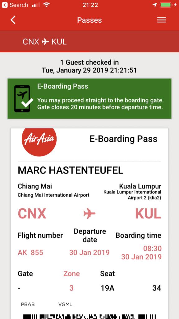 AirAsia App - Boarding Pass