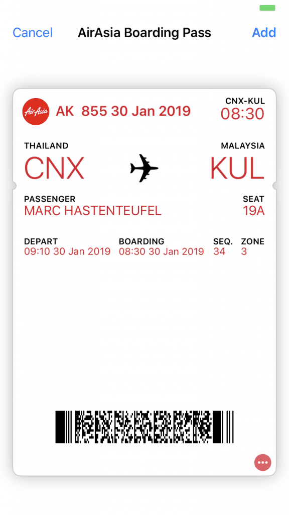 AirAsia App - Boarding Pass for Apple Wallet
