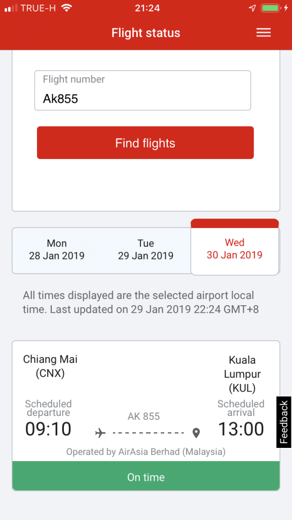 AirAsia App - Flight Status
