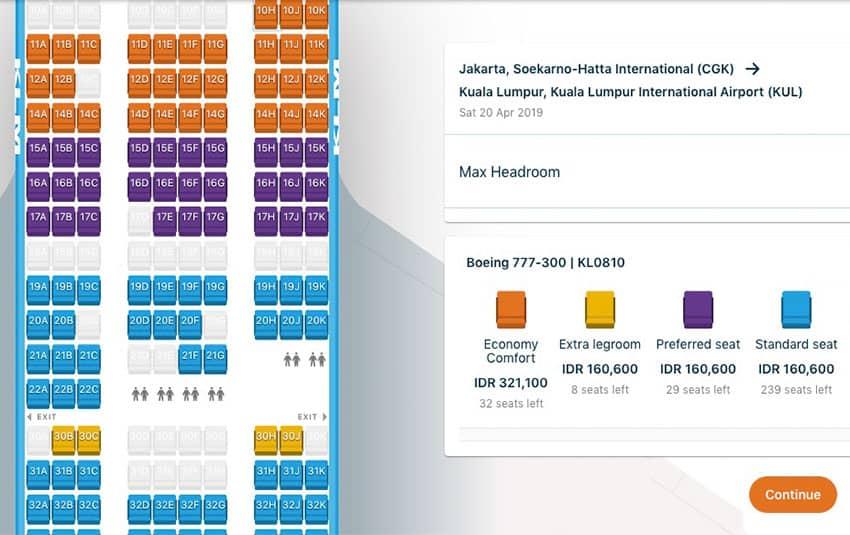 KLM Seat Options