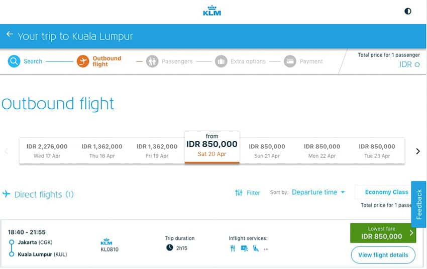 KLM Web Site flights to choose from