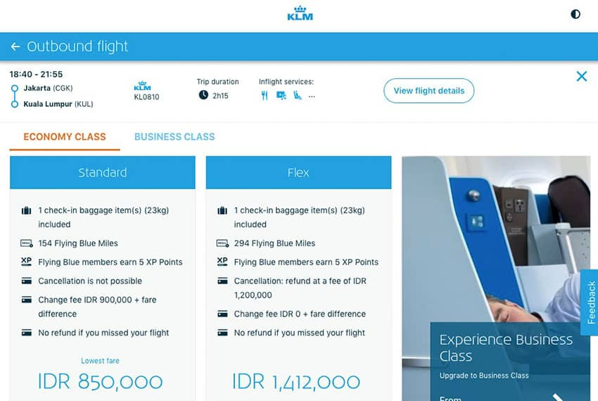 KLM Web Site Standard or Flex Fare chooser
