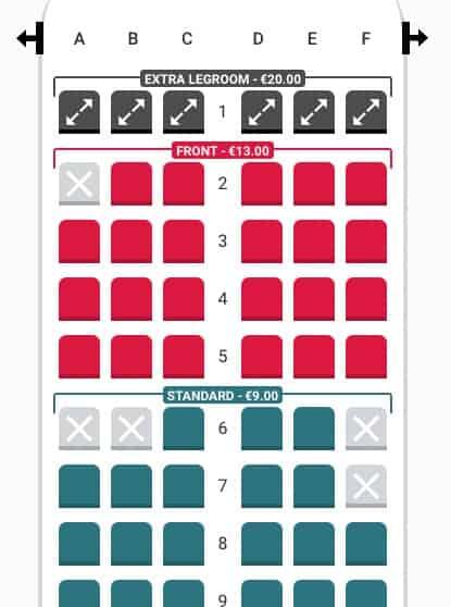 Lauda Seat Selection Fron Row 1-9