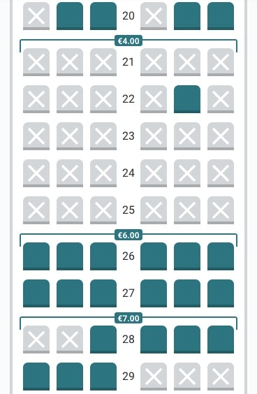 Lauda- Seat-selection row 20-29